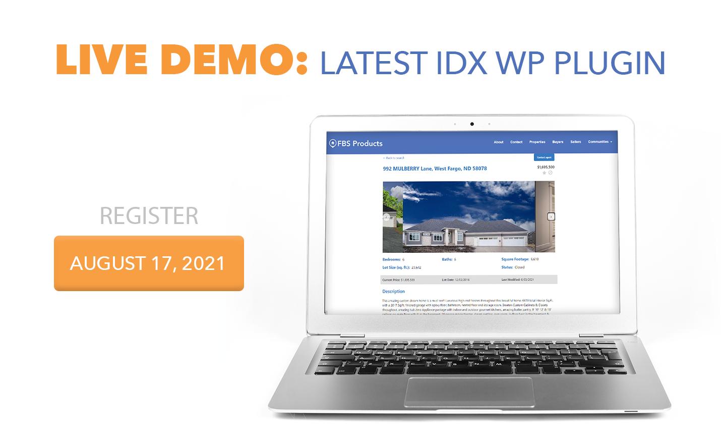Flexmls IDX WordPress Plugin version 3.12 Live Demo Webinar August 17 2021